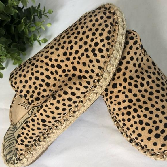 Leopard Espadrille Flat Mules Size 75